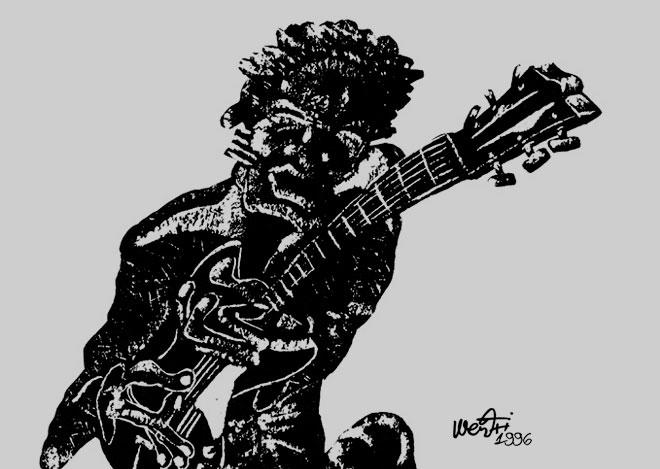 guitarrista jazz dibujo